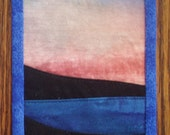 Quilted Fabric Postcard -- Hand Painted Sunset Sky with Dark Foreground Islands that CAN be Mailed
