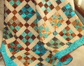 Lap Quilt Throw in Teal, Brown and Tan-- Patchwork 9-Patch