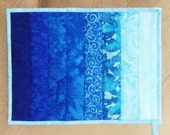 Quilted Potholder (Pot Holder) Oversized Ombre in Shades Ranging from Cobalt Blue to Aqua