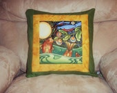 Quilted Pillow Cover -- Folk Art Fish and Blue Birds in the Moonlight with Gold and Green Borders
