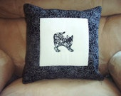 Pillow Cover Damask Cats 1 in White and Black