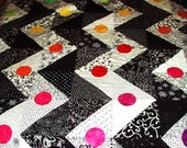 """King Size Quilt- Black and White Zigzag Pattern with a Rainbow of Hand Dyed """"Buttons"""""""