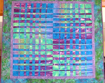 Quilted Wall Hanging -- Glowing Woven Strips of Purple, Blue and Green