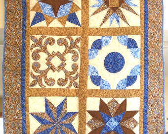 Quilted Wall Hanging or Throw - Sampler in Blue Cream and Gold