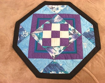 Quilted Wall  Hanging -- Hexagonal Design in Purple and Aqua Blue