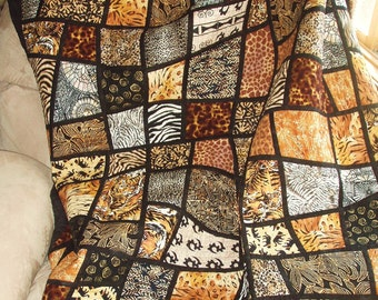 Twin Size Bed Quilt -- Jungle Animal Prints in Mosaic Crazy Nine Patch Pattern