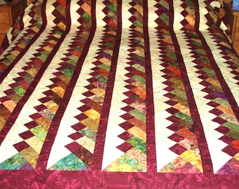 Quilt Queen Size Braided Pattern in Burgundy Maroon, Cream and Earth Tones