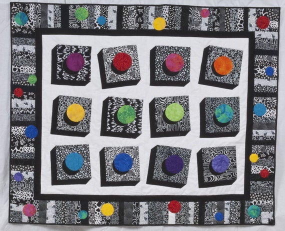 RESERVED FOR BARBARA -- Quilted Wall Hanging or Throw - Multicolor Buttons Float Against White Background