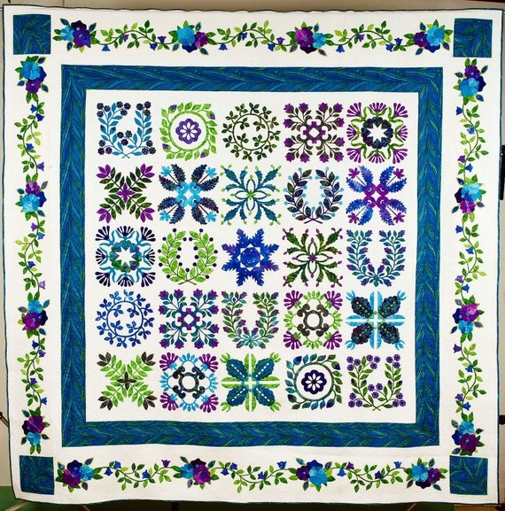 Quilt - Baltimore Album Style in Purple, Blue and Green