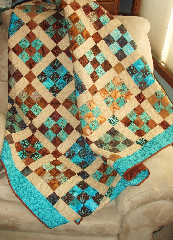 Lap Quilt Throw In Teal Brown And Tan Patchwork 9 Patch