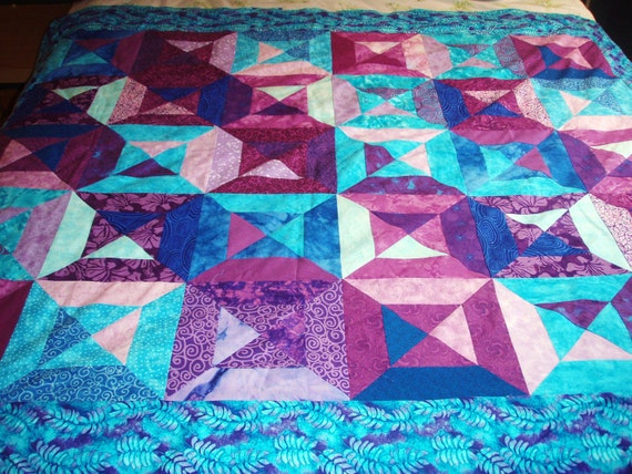 Quilt Lap or Throw Size Shadows Pattern in Shades of Purple and Blue