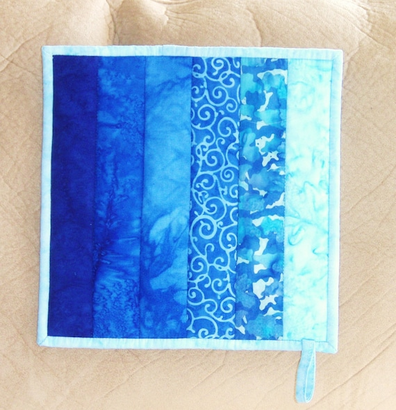 Ombre Quilted Potholder (Pot Holder)  in Colorwash in Shades Ranging from Cobalt Blue to Aqua