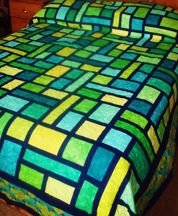 Queen Size Quilt in Mosaic Pattern in Green, Yellow and Blue Hand Dyed Fabrics
