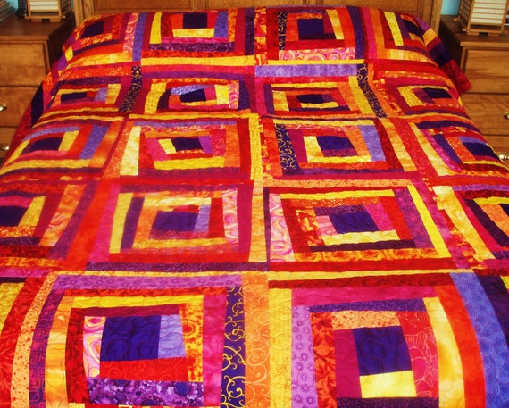 Queen Sized Bed Quilt in Crazy Log Cabin Design in Colors of Red, Yellow, Orange, Pink and Purple