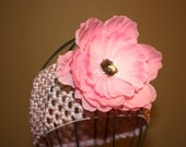 FREE SHIPPING...Pink Bling Peony Flower hair clip...Plus FREE Crochet headband...Perfect for Pictures