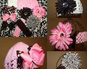 FREE SHIPPING... 10 piece mix and match bling flower and bow set Pink and Chocolate Brown plus Leopard with 2 Crochet Hats and 2 Headbands