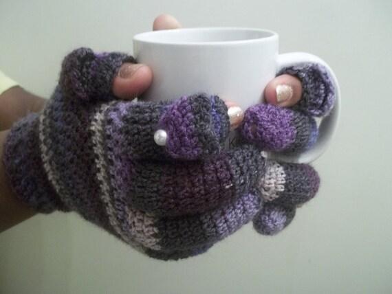 Purple Crochet Texting Gloves