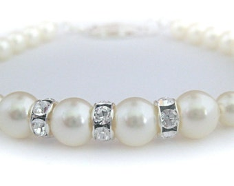 Wedding Jewelry Pearl Bridal Bracelet Swarovski Pearl and Rhinestone Bracelet