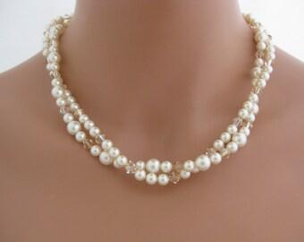 Wedding Jewelry Swarovski Pearl Necklace Bridal Jewelry
