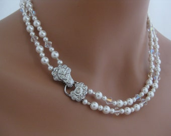 Vintage Style Bridesmaid Necklace wedding jewelry with Swarovski Pearls and Crystals