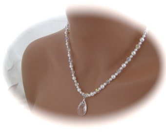 Swarovski Crystal and Pearl Bridal Necklace Wedding jewelry