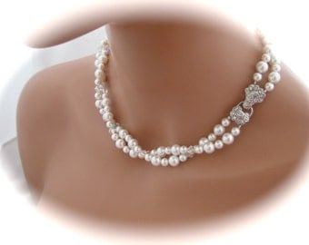 Wedding Jewelry Vintage Style Necklace Bridesmaid Necklace Swarovski Pearl and crystal Necklace Bridal Jewelry