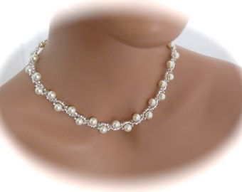 Pearl Jewelry Ivory Pearl Necklace, Wedding Jewelry, Bridal Necklace