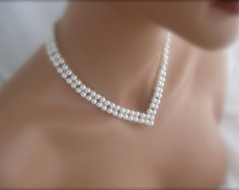 V Necklace Bridal Jewelry Wedding Jewelry Bridal Pearl Necklace
