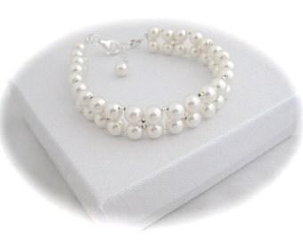 Pearl Wedding Bracelet Bridal Jewelry Swarovski Pearl Bracelet Wedding Jewelry