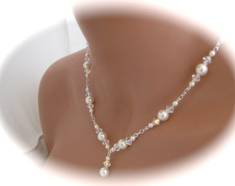 Bridal Pearl Necklace and Earrings Wedding jewelry Set Swarovski Pearl and crystal - Ivory
