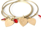 Personalized Heart Custom Message Charm Stacking Bangle, Hand-stamped lettering, Vintage charm