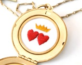Wedding Locket Necklace, double hearts, photo, hand embroidered red hearts and golden crown, Victorian style