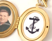 Gold Locket Necklace, Vintage Style Anchor, oval golden brass hand embroidered navy blue anchor