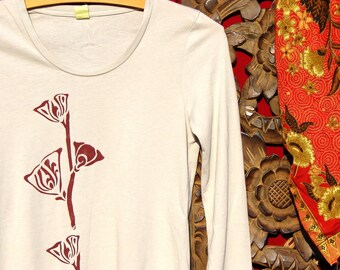 Tall Flowering Branch Long Sleeve Womens Cotton Tee