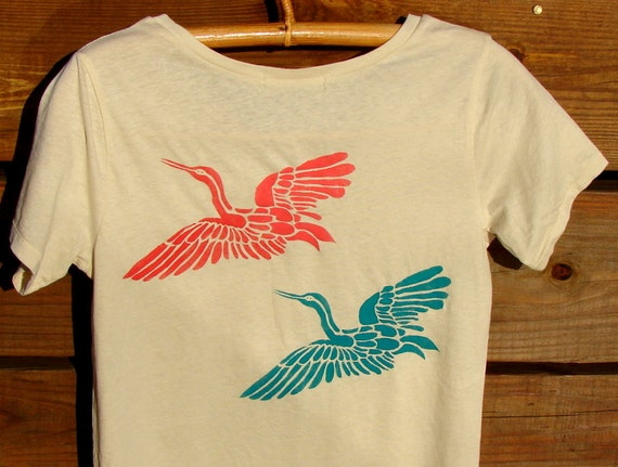 Japanese Cranes Organic Cotton Tee
