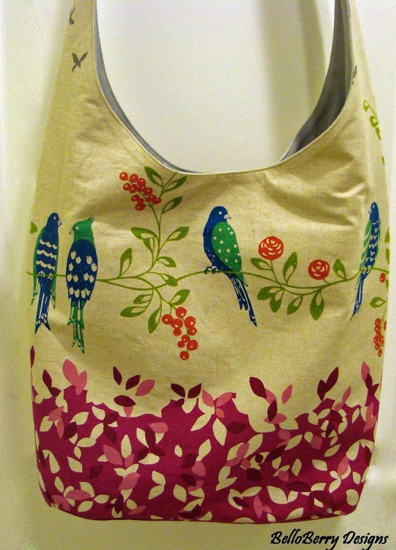 Sling Cross Body Hobo Tote Bag-Birdsong Japanese Print