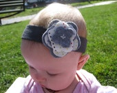 Gray Headband with Polka Dot and Gray Felt Flower, 3 Months & Up, FREE SHIPPING