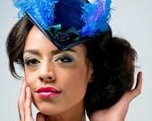 MAJOR SALE Velvet Indigo Blue Mini Tricorn Pirate Burlesque