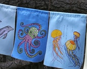 Sea Creatures Prayer Flags / garden flags  - 9 large flags - fish, octopus, crab, dolphins,  pelican, sea horse by Miranda Gray