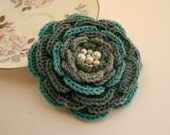Crochet Flower Pattern, PDF download, DIY brooch, hairclip