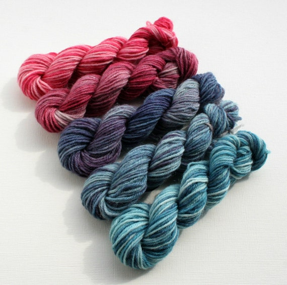 Hand Dyed Sock Yarn Mini Skeins, pink, purple, blue, fingering weight 4 ply