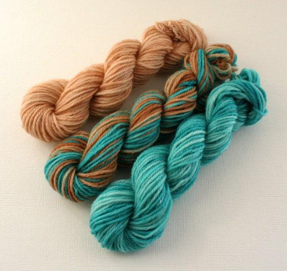 Knitting Goddess Mini Skeins : Sock yarn mini skeins hand dyed knitting wool turquoise