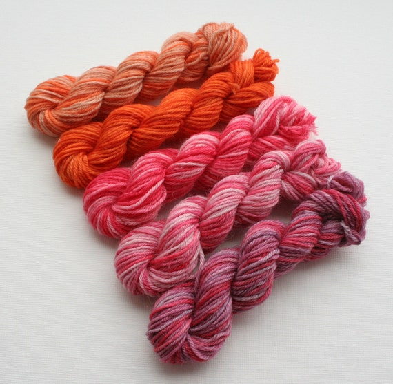 Hand Dyed Sock Yarn Mini Skeins, cinnamon, pink, orange,  variegated yarn
