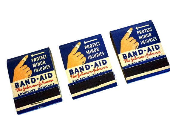 Vintage Matchbooks, 1940s  Band-Aid Advertising Art - Group of 3, Never Used