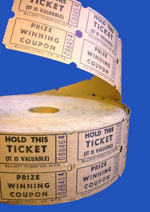1950's Vintage Raffle Tickets 2 Part Coupons Prize Ticket Coupons - 5.00 for 50 Double Tickets  - Altered Art and Collage