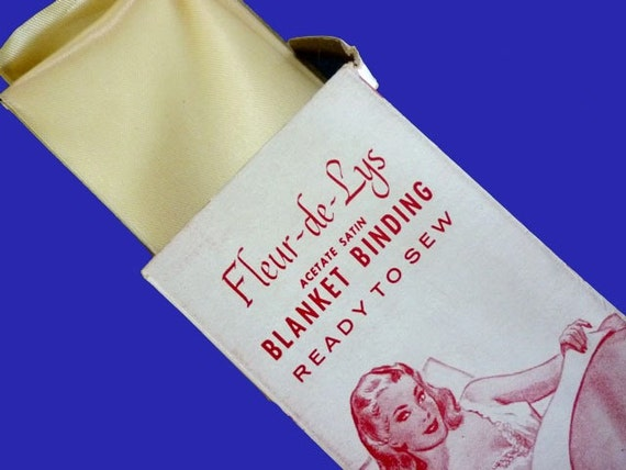 1940's Vintage Advertising Box of Never Used Blanket Binding in Pale Yellow Satin - 48 Inches x 4 Inches