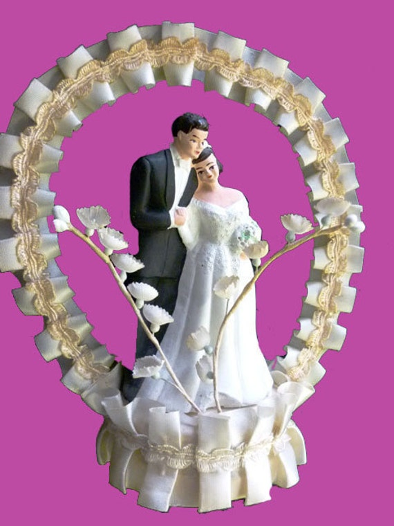 WEDDING BELLS -  1950s Vintage Chalkware Bride and Groom -White Gown and Tux  - Pleated Cream Satin and Lily of the Valley