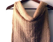 Hand knitted mohair sleeveless sweater cowl neck