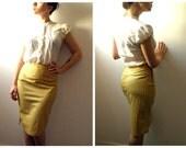 High Waist Striped mustard yellow Pencil Skirt  M