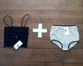 Retro Bra & Panties Set.Retro undies set.lace bra and undies set. high waist undies.pin up lingerie.pin up underwear.